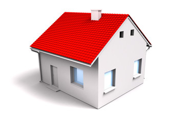 3d house with red roof