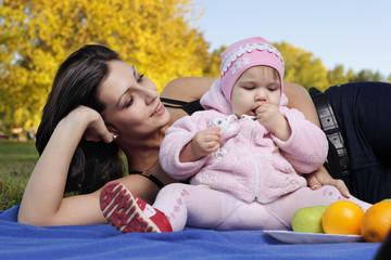 happy family  autumn outdoors