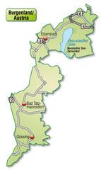 Autobahnkarte des Kantons Burgenland