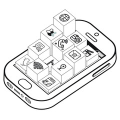 Black and White Smartphone with App icons on Blocks