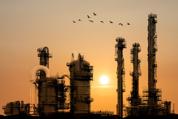 Oil refinery during sunset with birds flying by