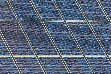 Detail of a large wall of solar panels