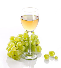 wineglass with grapevine and green bunch grape