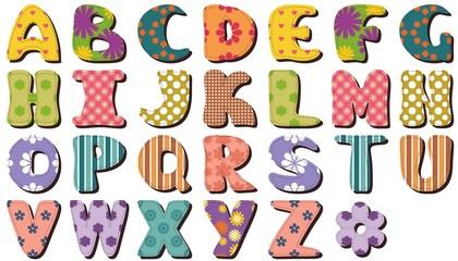 different textile scrapbook alphabet on white background