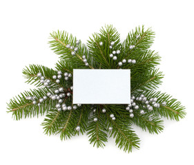 Christmas decoration with greeting card isolated on white backgr