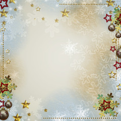Multicolored backdrop for greetings or invitations with bauble,