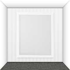 White frame on the wall.