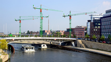 Picturesque industrial landscape with cranes. Berlin, Germany