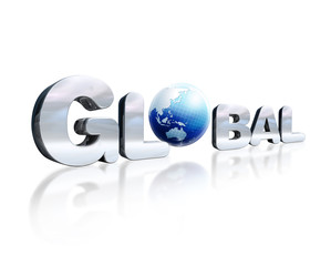 3 D chrome lettering with the word Global and earth globe in pla