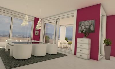Esszimmer in pink/weiß