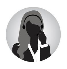 woman customer service sihouette