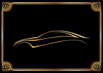 Altın otomobil ve çerçeve