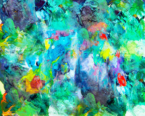 Abstract paint, green and blue and red