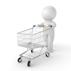 3d human with shopping cart - from my 3d human collection