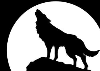 Heulender Wolf vor Mond