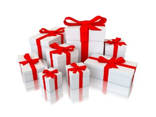 set of 3d gifts isolated on white