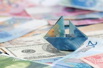 Swiss france folded as boat