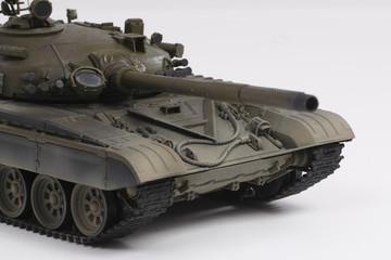 Miniature model of Soviet military tank from plastic