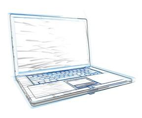 3d laptop sketch