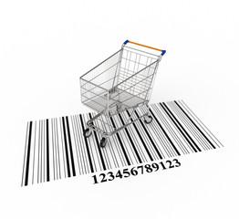 3d concept - shopping cart on bar code
