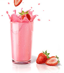 In de dag Milkshake Strawberries splashing into a milkshake glass, with two others o
