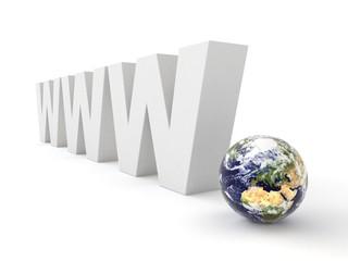 3d logo WWW with globe