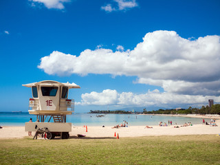 HONOLULU HAWAII Lifeguard post on Ala moana Beach park