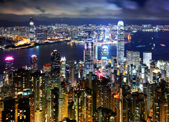 Hong Kong at night view from peak
