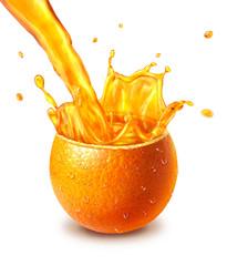 Orange fresh fruit cut in half, with an juice splash in the midd