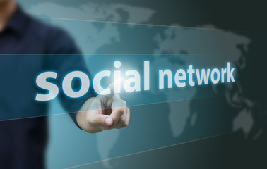 Wall Mural - Business hand touch social network