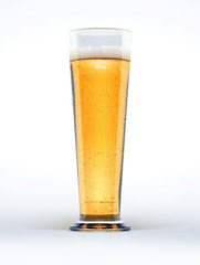 Tall glass of beer on white background.