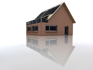 house with solar pannels in floor reflection