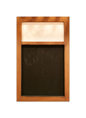 chalk board with wood frame isolated on white