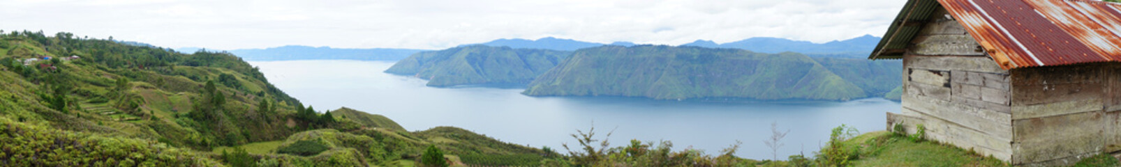 Panorama of house near the Lake toba