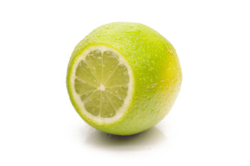 Juicy lime on a white background