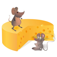Two mouses near the big cheese