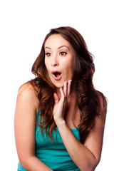 Surprised amazed young woman