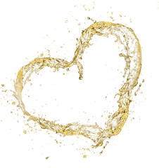Heart symbol made of champagne splashes