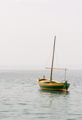 Fishing boat with a mast in sea