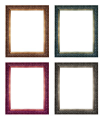 collection of antique frames isolated on white background