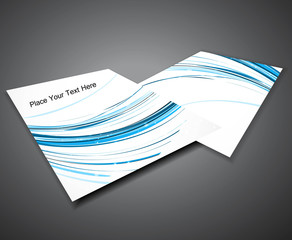 abstract Professional business brochure blue line wave design