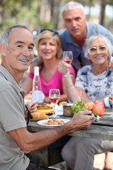 Foto auf Acrylglas Picknick portrait of older people at picnic