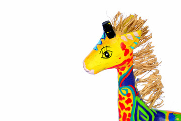 Colorful baby giraffe create by paper hand made