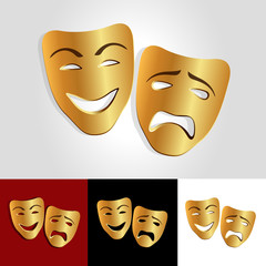 Comedy and tragedy vector masks