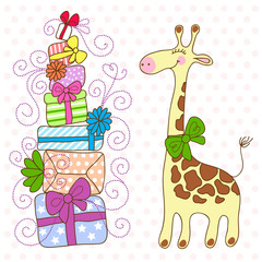Cute Giraffe with a lot of gifts