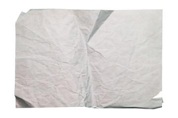 Old wrinkled paper on white