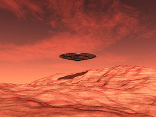 Alien Spacecraft over the Mars