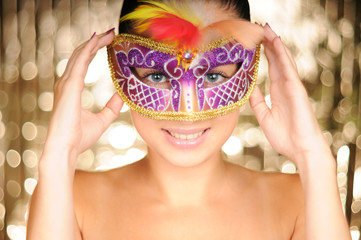 Poster Carnaval Beautiful young woman in carnival mask