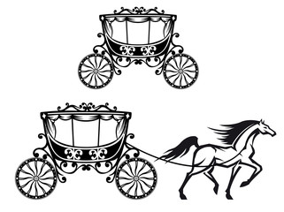 Horse with old carriage