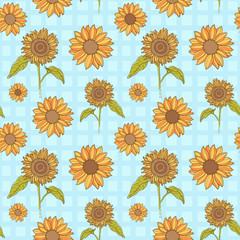 Bright sunflowers seamless pattern